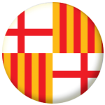 Barcelona Flag 58mm Mirror Keyring